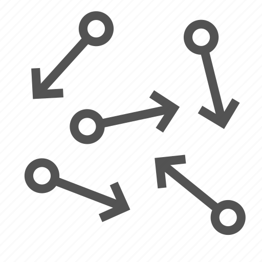 arrow, atoms, direction, motion, particles icon