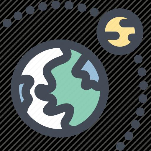 astronomy, earth, moon, orbits, planets icon