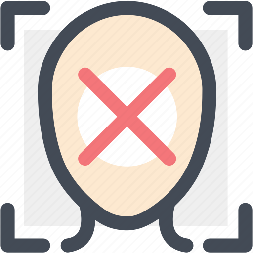 authentication, denied, disapprove, face id, face id scan, face password, face scan icon