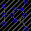 atom, electrons, molecule, protons, science icon