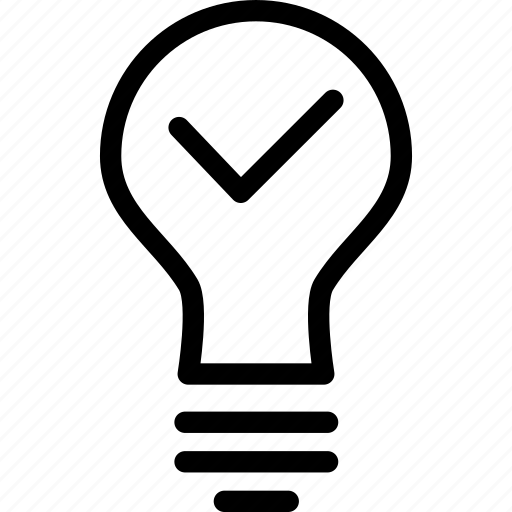 bulb, check, electricity, idea, light, power, tick icon