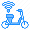 scooter, sharing, technology, transportation, wifi icon