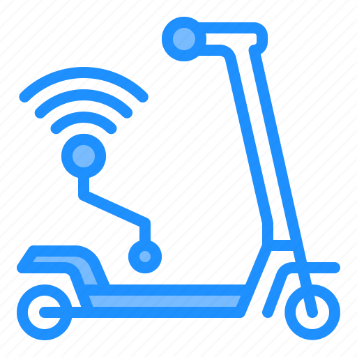 scooter, sharing, technology, transportation, wireless icon