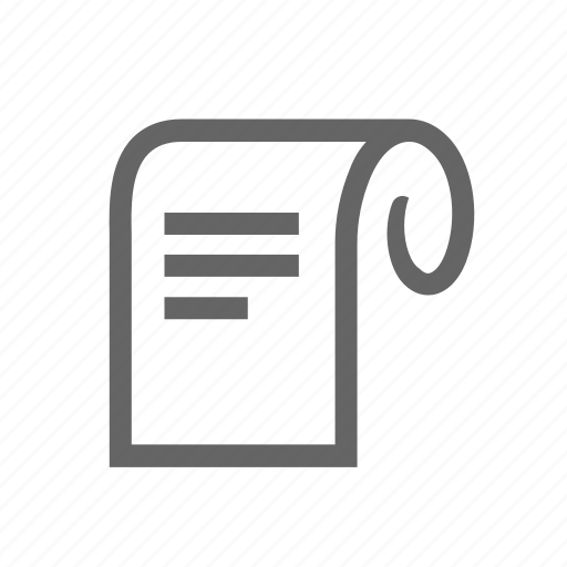 curled, letter, paper, retro, roll, sheet, write icon