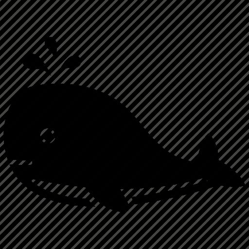 animal, fountain, whale icon