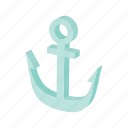 anchor, cartoon, marine, metal, nautical, old, vintage icon