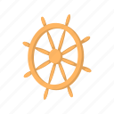 boat, cartoon, direction, rudder, ship, vessel, wheel icon