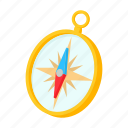 cartoon, compass, gold, journey, north, travel, west icon