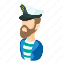 captain, cartoon, hat, sailor, sea, seaman, travel icon