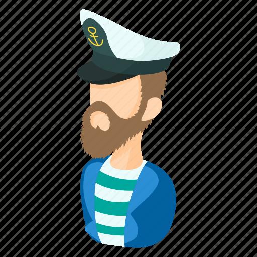 captain, cartoon, hat, sailor, sea, seaman, travel icon