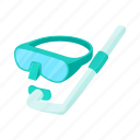 cartoon, mask, snorkel, sport, summer, underwater, water icon