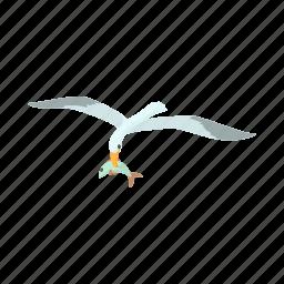 bird, cartoon, fish, nature, ocean, sea, seagull icon