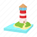 beacon, cartoon, light, lighthouse, ocean, sea, tower icon