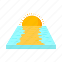 cartoon, nature, sea, summer, sun, sunset, water icon