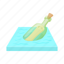bottle, cartoon, glass, help, message, note, sea icon