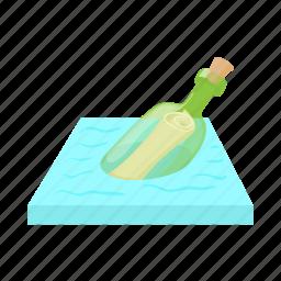 bottle, cartoon, glass, help, message, note, sea icon