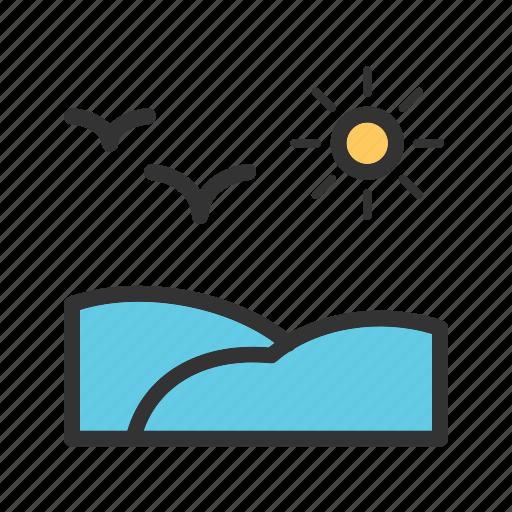 beach, ocean, pool, sea, sky, sun, water icon