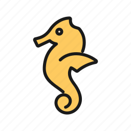 animal, creature, horse, sea, seahorse, slender icon