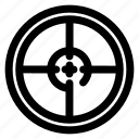 gun, loop, outline, radar, round, sea, target icon
