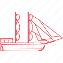 boat, ocean, outline, sea, ship, support, water icon