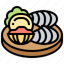 appetizer, clams, cockles, mussel, seafood icon