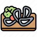 appetizer, clams, cooked, mussel, seafood icon