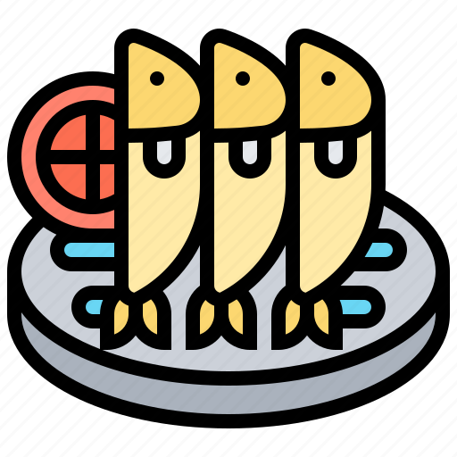 cooked, cuisine, healthy, plate, sardine icon