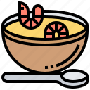 bowl, seafood, shrimps, soup, spoon icon