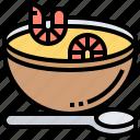 bowl, seafood, shrimps, soup, spoon icon