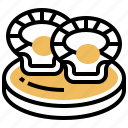 clams, cooked, culinary, dinner, scallop icon