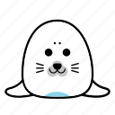 animal, emoticons, expression, face, happy, seal, smiley icon