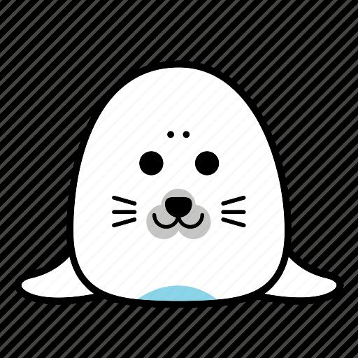 animal, emoticons, expression, face, happy, seal, smiley icon