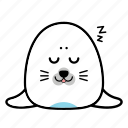 animal, emoticon, expression, face, seal, sleep, smiley icon