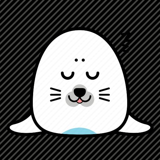 animal, emoticon, expression, face, seal, sleep, smiley icon