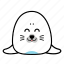 animal, emoticon, expression, face, happy, seal, smiley icon