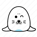 animal, cute, emoticon, expression, face, seal, smiley icon