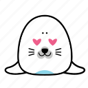 animal, emoticons, expression, face, love, seal, smiley icon