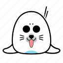 animal, emoticon, expression, face, seal, shock, smiley icon