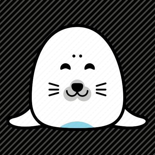 animal, emoticon, expression, face, happy, seal, smiley icon