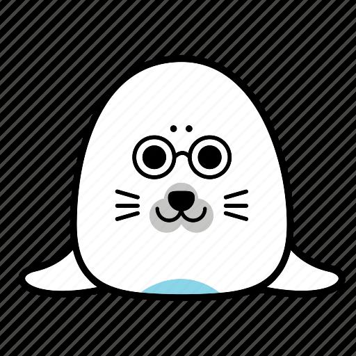 animal, emoticon, expression, face, glasses, seal, smiley icon