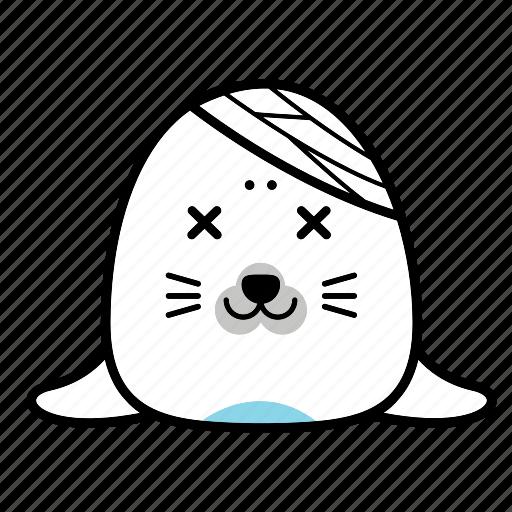 animal, emoticon, expression, face, seal, sick, smiley icon