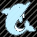 cute, dolphin, mammal, ocean, sea, sealife icon