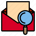 email, inbox, mail, message, search icon