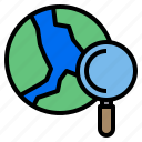 earth, location, map, search, world icon
