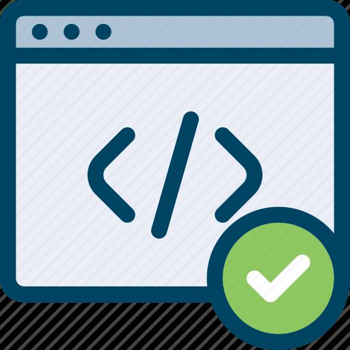 check, code, control, html, page, web icon