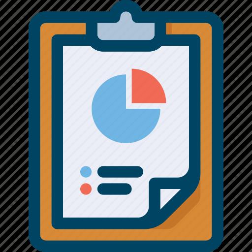chart, clipboard, finance, pie, report, seo, test icon