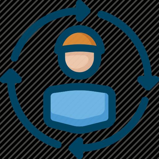 arrow, audience, flow, seo, target, user icon