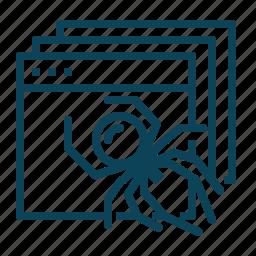 crawler, find, network, web icon