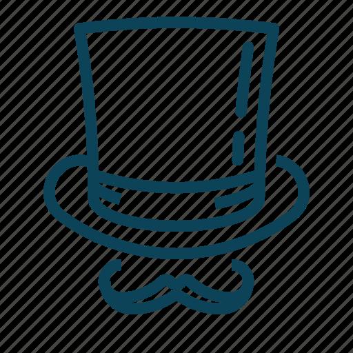 cylinder, hat, moustache, mustache icon
