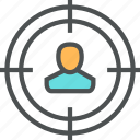 audience, employee, hiring, person, recruitment, target, user icon